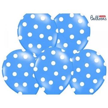 Obrázek Latexový balonek s puntíky modrý 30 cm