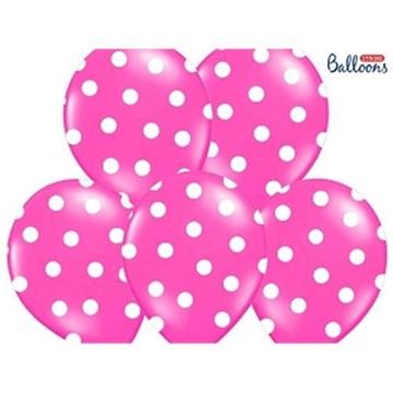 Obrázek Latexový balonek s puntíky tmavě růžový 30 cm