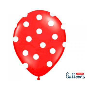 Obrázek Latexový balonek s puntíky červený 30 cm