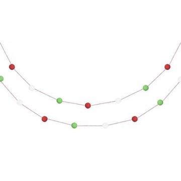 Obrázek Girlanda pom pom červeno-bílo-zelená 2 m