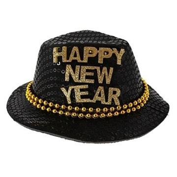 Obrázek Klobouček se zlatým nápisem Happy New Year 14 cm - černý