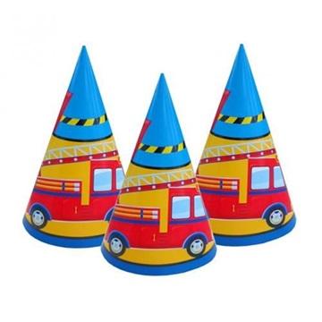 Obrázek Party papírové čepičky hasiči 6 ks