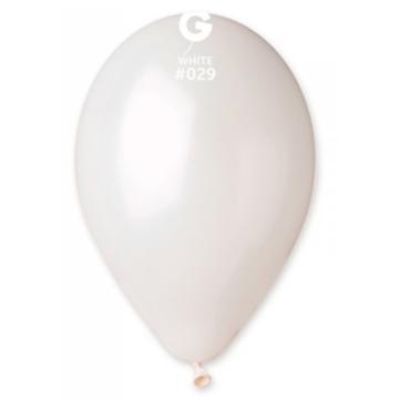 Obrázek Metalické balonky 28 cm - bílá 100 ks