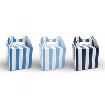 Obrázek Krabičky na cukrovinky s modrými proužky - 6 ks