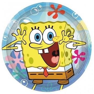 Obrázek Papírové talíře Sponge Bob 23 cm - 8 ks
