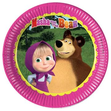 Obrázek Papírové talíře Máša a medvěd 23 cm - 8 ks
