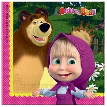Obrázek Papírové party ubrousky Máša a medvěd 20 ks