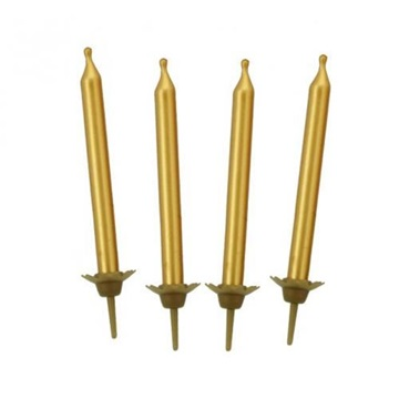 Obrázek Dortové svíčky zlaté 10 ks
