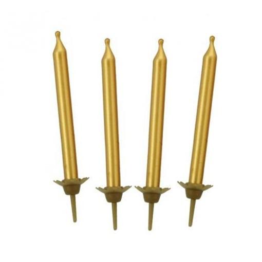 Obrázek z Dortové svíčky zlaté 10 ks