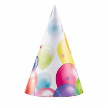 Obrázek Party papírové čepičky s balonky 8 ks