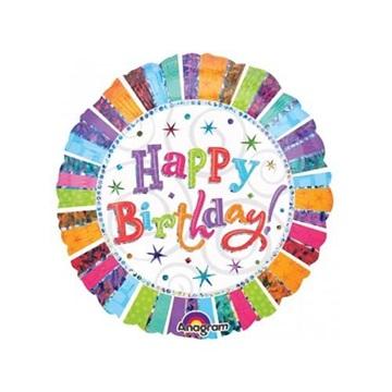 Obrázek Foliový balonek třpytivý Happy Birthday 45 cm