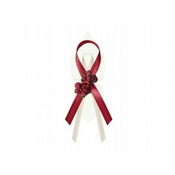 Obrázek Svatební vývazky červeno-bílé s růží 6 ks