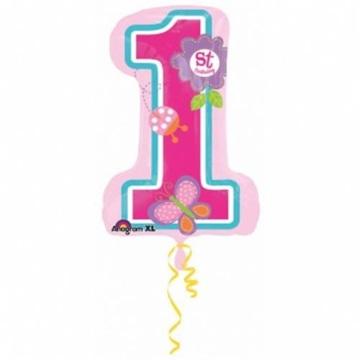 Obrázek Foliový balonek číslice 1 - první narozeniny růžová  71 cm