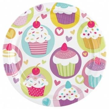 Obrázek Papírové talířky Muffin 18 cm - 8 ks