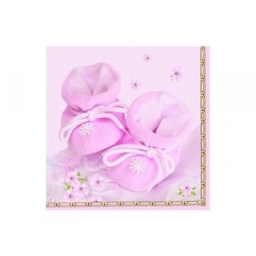 Obrázek Papírové party ubrousky Baby bačkůrky růžové 20 ks