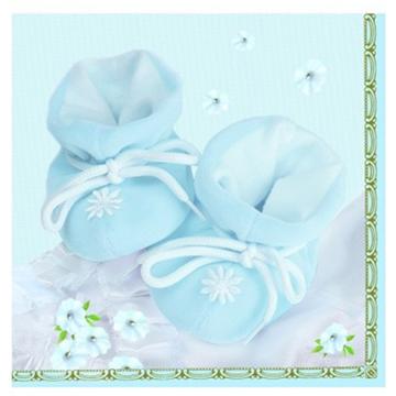 Obrázek Papírové party ubrousky Baby bačkůrky modré 20 ks
