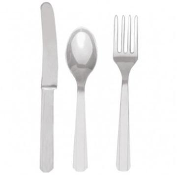 Obrázek Plastové příbory stříbrné 24 ks