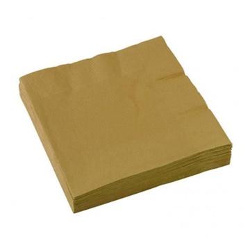 Obrázek Papírové party ubrousky zlaté 20 ks