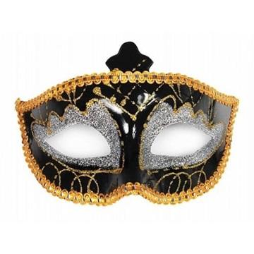 Obrázek Černá škraboška se stříbrným a zlatým dekorem