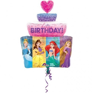 Obrázek Foliový balonek dort princezny Happy birthday 53 x 71 cm