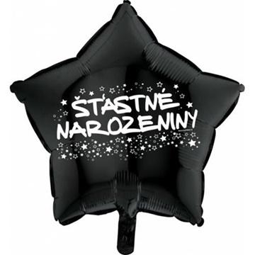 Obrázek Foliový balonek hvězda Šťastné narozeniny - černá 45 cm