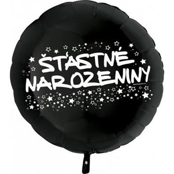Obrázek Foliový balonek kruh Šťastné narozeniny - černý 45 cm