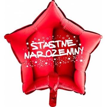 Obrázek Foliový balonek hvězda Šťastné narozeniny - červená 45 cm