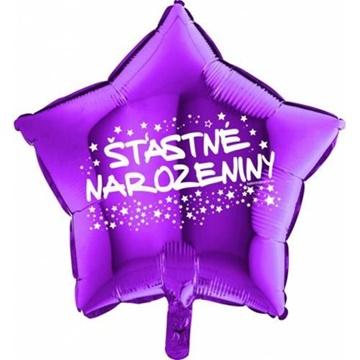 Obrázek Foliový balonek hvězda Šťastné narozeniny - fialová 45 cm