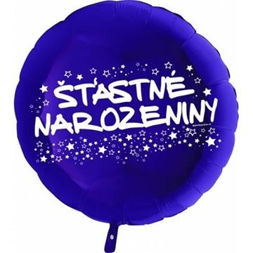 Obrázek Foliový balonek kruh Šťastné narozeniny - modrý 45 cm