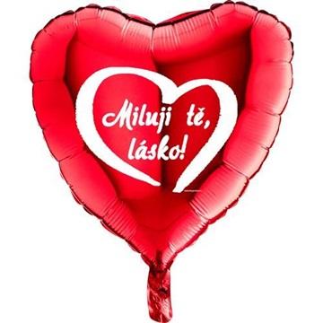 Obrázek Foliový balonek srdce Miluji tě lásko - červené 45 cm