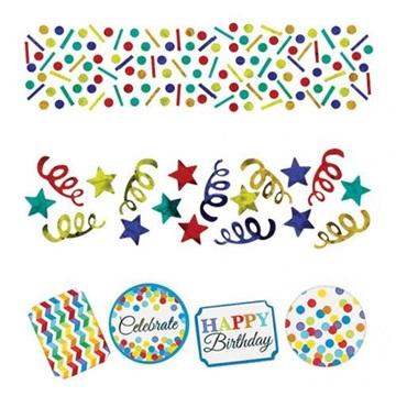 Obrázek Konfety Happy Birthday vlnky a proužky 34 gr
