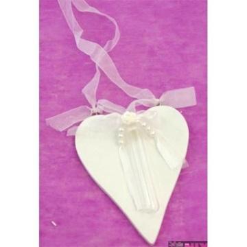 Obrázek Dřevěné srdce s ampulkou na květiny