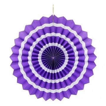 Obrázek Dekorační rozeta fialová s bílými proužky 40 cm