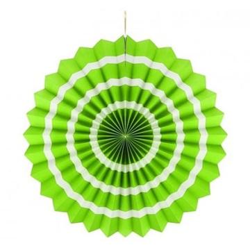 Obrázek Dekorační rozeta limetkově zelená s bílými proužky 40 cm