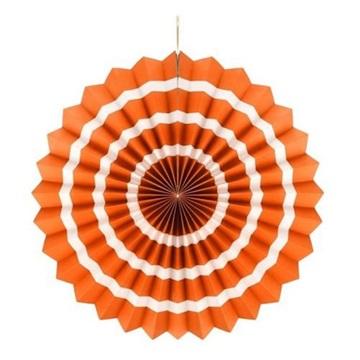 Obrázek Dekorační rozeta oranžová s bílými proužky 40 cm