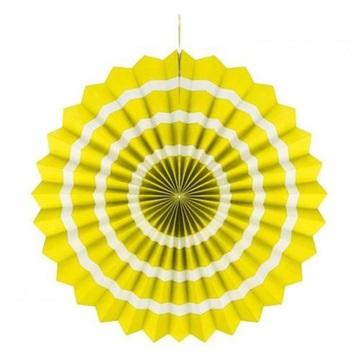 Obrázek Dekorační rozeta žlutá s bílými proužky 40 cm