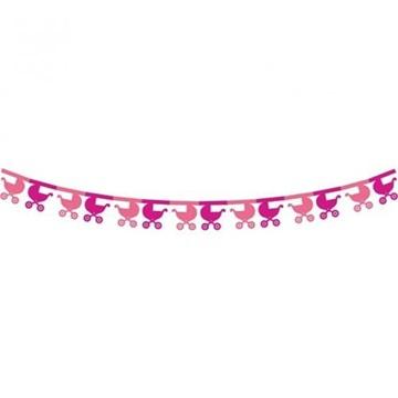 Obrázek Papírová girlanda růžové kočárky 360 cm