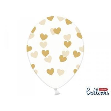 Obrázek Latexový balonek průhledný se zlatými srdíčky 30 cm