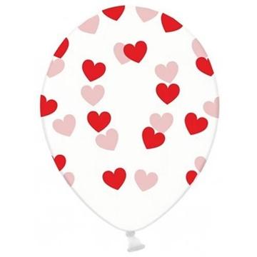 Obrázek Latexový balonek průhledný s červenými srdíčky 30 cm