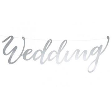 Obrázek Nápis svatební Wedding stříbrný 16 x 45 cm