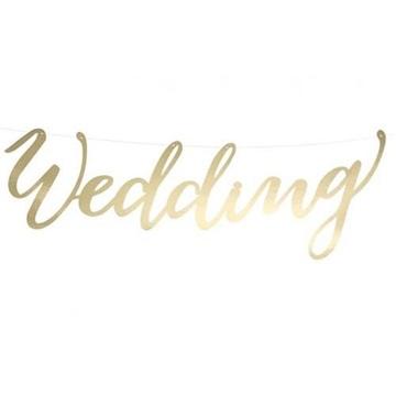Obrázek Nápis svatební Wedding zlatý 16 x 45 cm