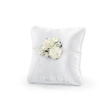 Obrázek Polštářek na prstýnky bílý s květinou 16 x 16 cm