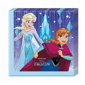Obrázek Papírové party ubrousky Frozen - Snowflakes 20 ks