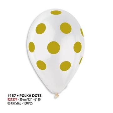 Obrázek Latexový balonek průhledný se zlatými kolečky