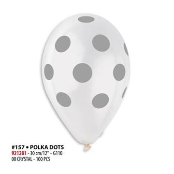 Obrázek Latexový balonek průhledný se stříbrnými kolečky