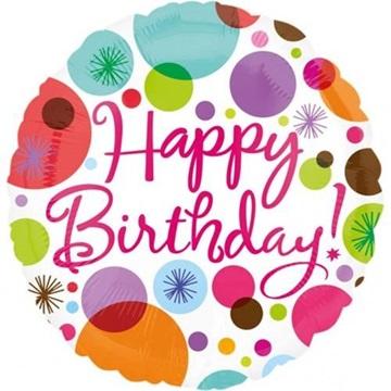Obrázek Foliový balonek s puntíky Happy Birthday 45 cm