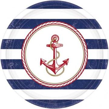 Obrázek Papírové talíře v námořnickém stylu 26 cm - 8 ks