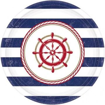 Obrázek Papírové talířky v námořnickém stylu 17 cm - 8 ks