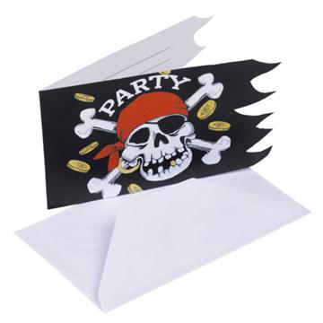Obrázek Party pirátské pozvánky Jolly Roger - 6 ks