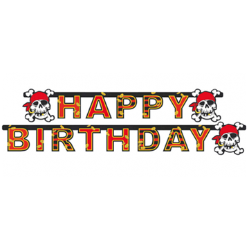 Obrázek Party nápis pirát Jolly Roger Happy Birthday 180 cm